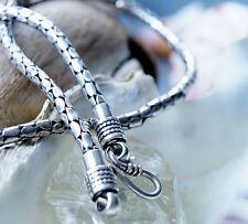 Silberkette 46 cm Massiv 4 mm Dick Schlangen Muster Antik Design Silber Kette