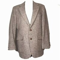 Vtg Oakbrook Classic Blazer Sport Coat Career Button Jacket Tan Brown Tweed 42R