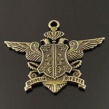 12pcs Antique Style Bronze Tone Alloy Queen Birds Badge Charm Pendant 36520