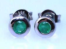 Smaragd Ohrstecker 585 Weißgold 14Kt Gold Ohrringe 2 natürliche Smaragde