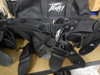 """NEW peavey 2"""" Guitar and bass straps Black nylon and leather LOT OF 17 WITH BAG"""