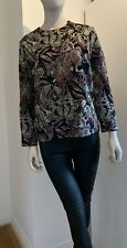Vintage Valentino Ladies Black Long Sleeve Sparkle  Floral Print Sweater Size L