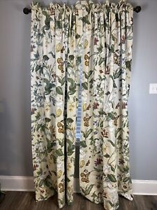 "Waverly Williamsburg Magnolia Drapes Pair (2) 45""x84"" Floral Butterfly"