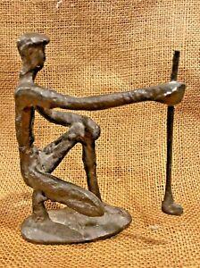 Vintage Bronze Golfer Statue Brutalist Figurine Art Golf Club Mid Century Modern