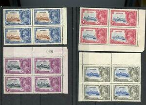 LEEWARD ISLANDS SILVER JUBILEE 1935 SCOTT# 96/99 BLOCK SET MINT NEVER HINGED