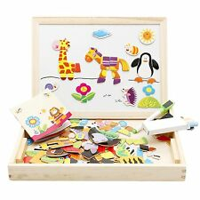 Kids Children Magnetic 3D Animal Puzzle Double Faced Writing Wooden Board Easel