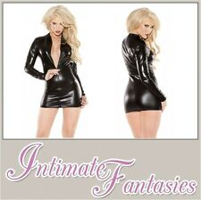 Kitten Sexy Black Wet Look Dress Vinyl Dominatrix Cosplay Outfit Size 8 10 12