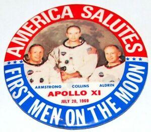1969 Apollo 11 Saturn V pin pinback button space moon armstrong aldrin collins