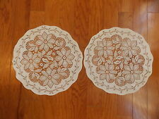 HERITAGE LACE WHITE REGENCY SET OF 2 DOILIES 14 INCH DIAMETER NWOT ITEM 6080