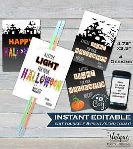 Glow Stick Favor Tags, Kids Personalized Editable Halloween Tags Digital Corjl