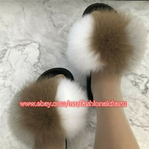 Real Fox Fur Slides Womens Sliders Beach Sandals Slippers Indoor Outoor Shoes