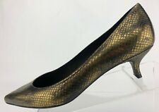 Stuart Weitzman Pumps Gold Embossed Leather Pointed Toe Dress Shoes Womens 10 M