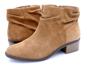 Vionic Womens 9 Brown Suede Kanela Weather Resistant Side Zip Ankle Booties