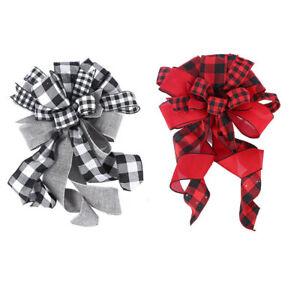 Handmade Christmas Tree Bow Ornaments Tree Topper Large Plaid Bow-knot Christmas