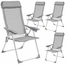 Set 4 Aluminium folding garden chairs outdoor camping patio furniture silver