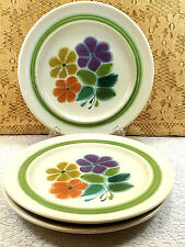 3 Franciscan Earthenware Floral Purple Pink Green Salad Plates Collectible