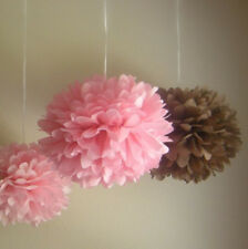 6x 30cm pink brown paper pom pom wedding baby shower party home venue decoration