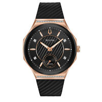 Bulova Women's Quartz Curved Rose Gold Case Black Dial 40.5mm Watch 98R239