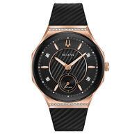 Bulova Women's Quartz Curved Rose Gold Case Black Dial 40.5mm Watch 98R239