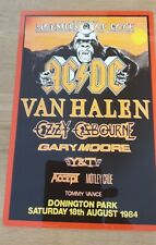 More details for ac/dc van halen ozzy monsters of rock castle donington 1984 8x12 inch metal sign