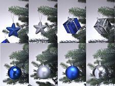 44 tlg. Christbaumkugeln Weihnachtskugeln Christbaumschmuck Set blau / silber