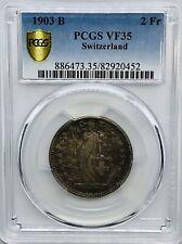 1903-B Switzerland 2 Francs - PCGS VF35 - KM# 21 - Rare Swiss Silver
