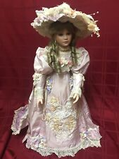 """Thelma Resch Young Girl 1994 31/2000 Porcelain Doll Pink w White Lace 30"""""""