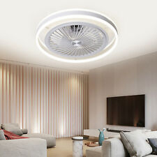 Modern Invisible Ceiling Fans w/ 3-Color dimming Light Fan Chandelier remote New