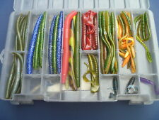 Huge Lot Freshwater Fishing Worms Lures Assorted in Plano Tackle Box
