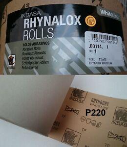 Indasa Rhynalox Whiteline Dry Sand Paper 10m Roll P220 Grit Abrasive Sanding