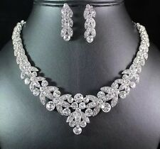 10k White Gold Plated Clear Bling Austrian Crystal Bridal Necklace Earrings Set