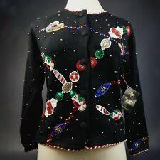 "Rare Christopher Radko Christmas Button Sweater ""Ornament"" Cardigan Medium $209"