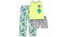 Carter's Infant Boys 3-Piece Short Long Tank Pajama Set Fish Baby 12-18 NEW