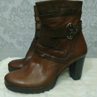 Dorking Brown Leather Ankle Boots Womens Size 38 US 7.5 Buckle High Heels Spain