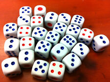 12 Dice 10mm White Colour Blue Red Numbers 6 sided Poker Board Games Yahtzee Die