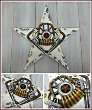 Western Rustic Cowboy Star Six Shooter Gun Horseshoe Bullets Hanging Sign Plaque