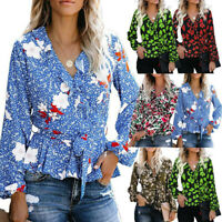 Women's Casual Floral Print V-neck Lace Trim Sleeve Tops Blouse Belt T-Shirt LIU