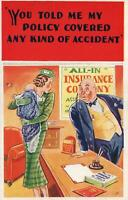 VINTAGE COMIC PRETTY LADY COMPLAINING ABOUT ACCIDENTAL BABY INSURANCE POSTCARD