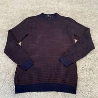 AUTOGRAPH Marks & Spencer Mens Knitted Jumper Medium Blue Cotton Check Pullover