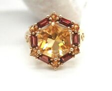 VINTAGE LADIES 10K YELLOW GOLD COCKTAIL RING WITH YELLOW CITRINE & SMOKY TOPAZ