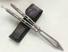 Practice BALISONG METAL BUTTERFLY Stone-washed Trainer Knife with Sheath JL28