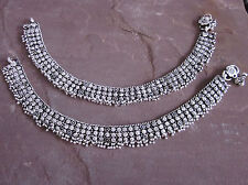 Layered Soldered Chain German Silver Vintage Ankle Jewelry Anklet Bracelet Boho