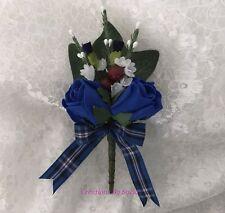 Wedding Buttonhole Scottish Glasgow Rangers FC Tartan  ~Roses/Heather/Thistles