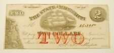 1864 State of Mississippi $2 Two Dollar Note Civil War Currency - Authentic