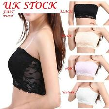 Women Franch Floral  Lace Boob Stretch Bandeau Tube Bra Cami Top Strapless Uk