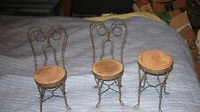Very rare Doll Size Parlor chairs and Table. 3 piece set. Vintage. Wood and tin