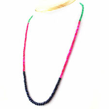 Ruby Emerald & Sapphire necklace with 18 kt (750/1000) gold clasp, length 50cm