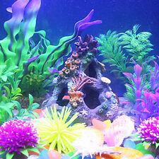 Sucker Mounted Coral Reef Fish Cave Rock with Corals Aquarium Ornament