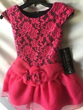 Isobella and Chloe Girls Fuchsia And Black Lace Top Party Dress Sz 2T-New