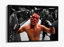 NATE DIAZ V MC GREGOR MMA -FLOAT EFFECT CANVAS WALL ART PIC PRINT- BLACK & WHITE